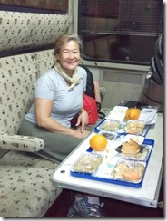 Dinner on the train - taken by Amy
