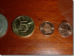 5 rupee and .25 rupee coins