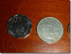 10 and 1 Rupee coins
