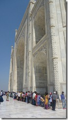 Taj Mahal Tour Colorful Saris in Line