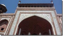 Taj Mahal Tour South Gate Detail - Koran scripture is inlaid around the gate entrance
