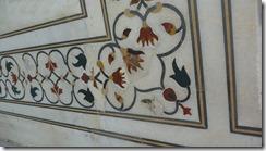 Taj Mahal Tour Floral Detail of Coralyne, Lapis, Onyx, Jasper, White Marble Inlaid Workmanship