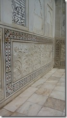 Taj Mahal Tour Floral Panel of one solid white marble piece