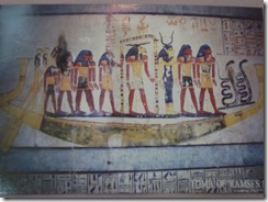 Valley of Kings Funeral barge with gods and goddesses guarding passage to Paradise