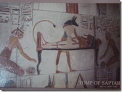 Valley of Kings Anubis, Isis and Nephthys preparing the mummy for transportation