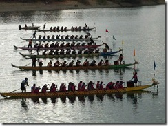 Fremont Dragon Boat Race 2012 - the line up in an early morning race