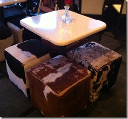 Chocolat restaurant in Hillcrest - some Moo tables as their mascot is a Hereford cow!