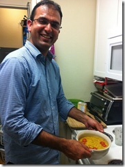 Jamil - one of our couchsurfers - making dinner