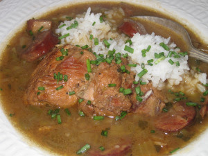 Hen & Tasso Sausage Gumbo - the finished dish w rice