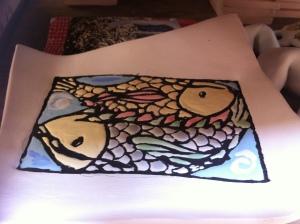 Ceramics - cuerda seca glazed piece