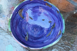 TripFysh Bowl - AFTER glazing and firing - Low Fired clay